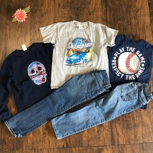 Boys Sz 8 Five Piece Lot Jeans and Shirts